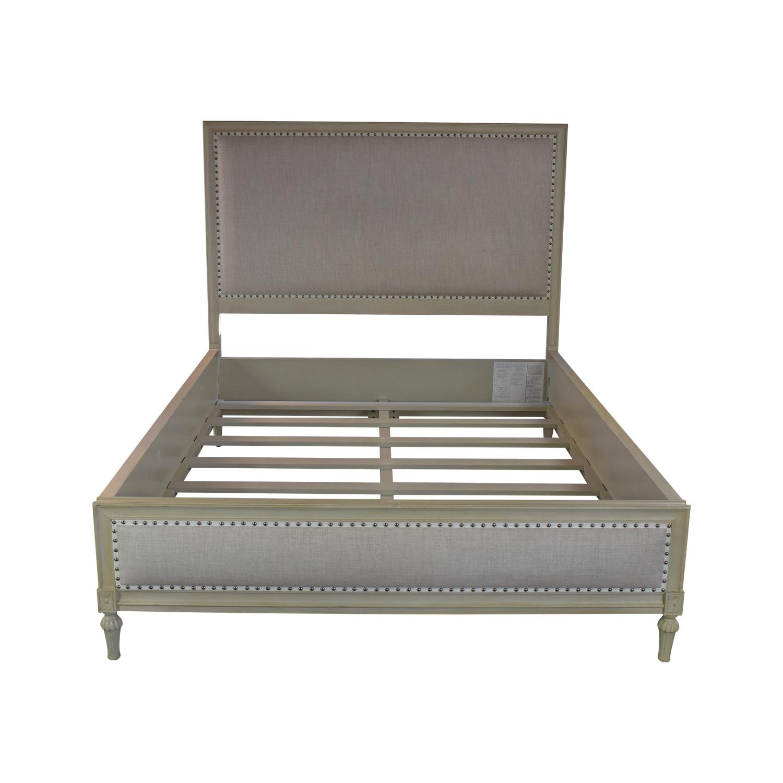 buy Restoration Hardware Maison Nailhead Beige Panel Queen Platform Bed Frame Restoration Hardware
