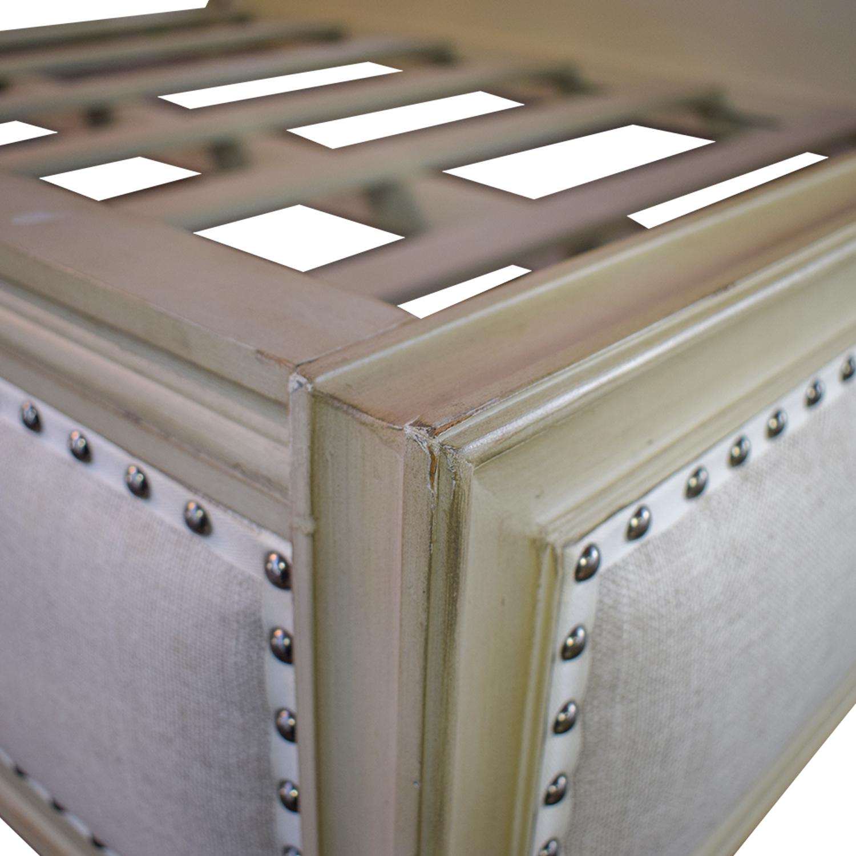 Restoration Hardware Maison Nailhead Beige Panel Queen Platform Bed Frame / Bed Frames