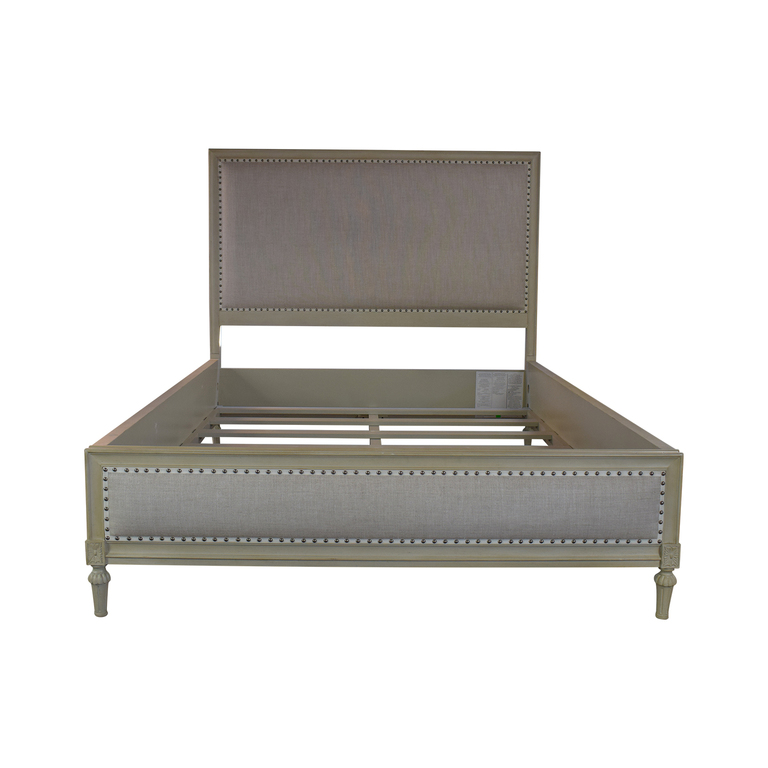 Restoration Hardware Maison Nailhead Beige Panel Queen Platform Bed Frame sale