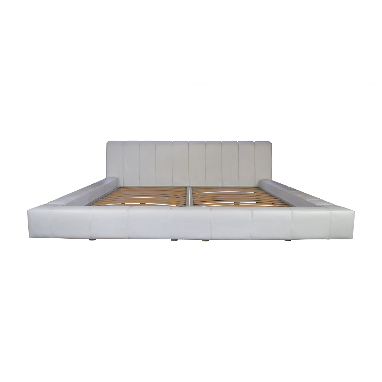 shop Lazzoni Olivia White Platform King Bed Frame Lazzoni