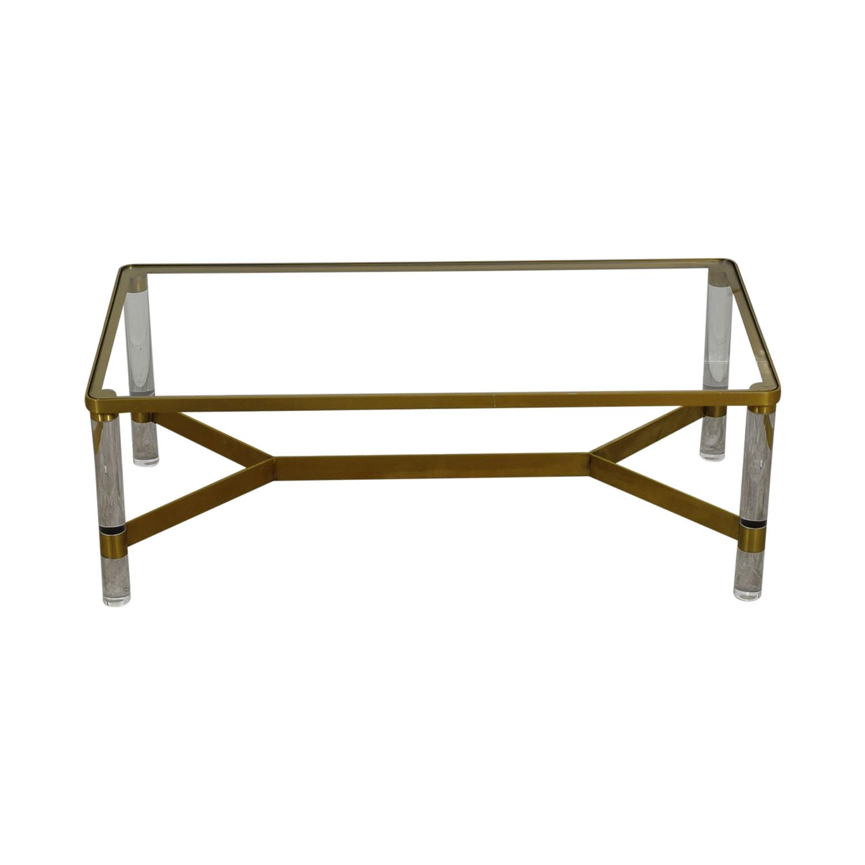 shop Anthropologie Oscarine Glass Acrylic & Brass Coffee Table Anthropologie Tables