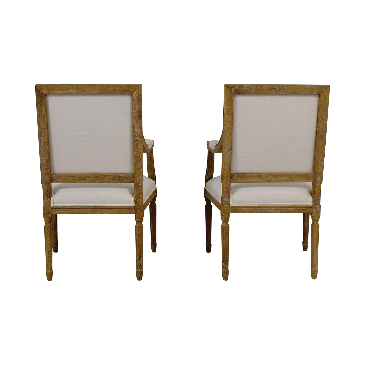 Wisteria Wisteria Chateau White Upholstered Rustic Wood Armchairs coupon
