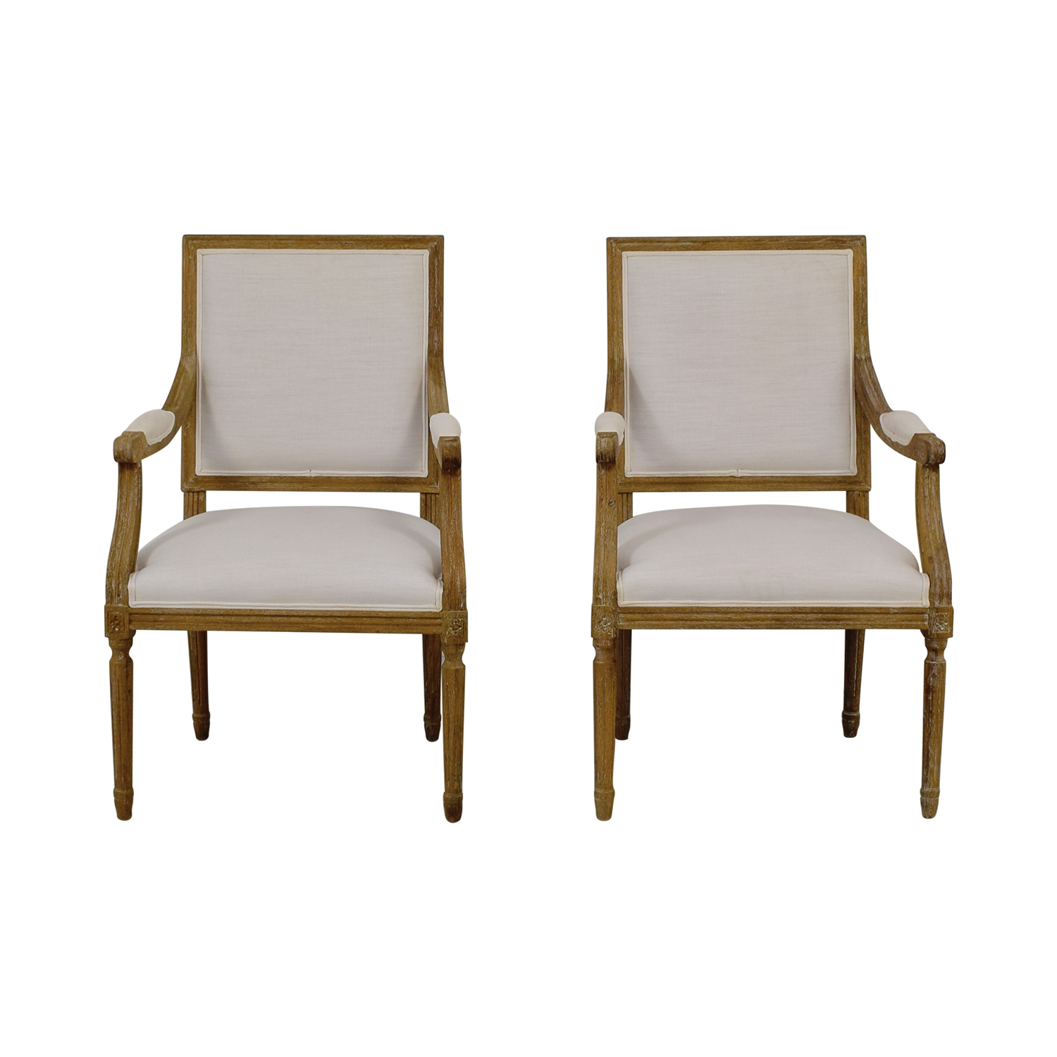 buy Wisteria Chateau White Upholstered Rustic Wood Armchairs Wisteria