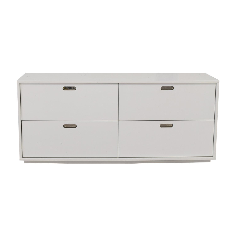 CB2 CB2 White Four Drawer Low Dresser Used ...