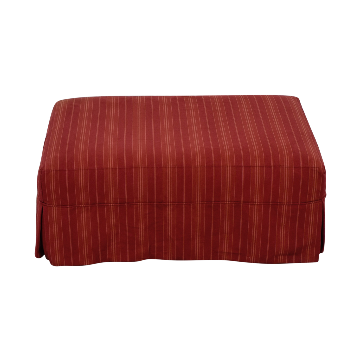 Crate & Barrel Willow Red and Beige Ottoman on Casters sale