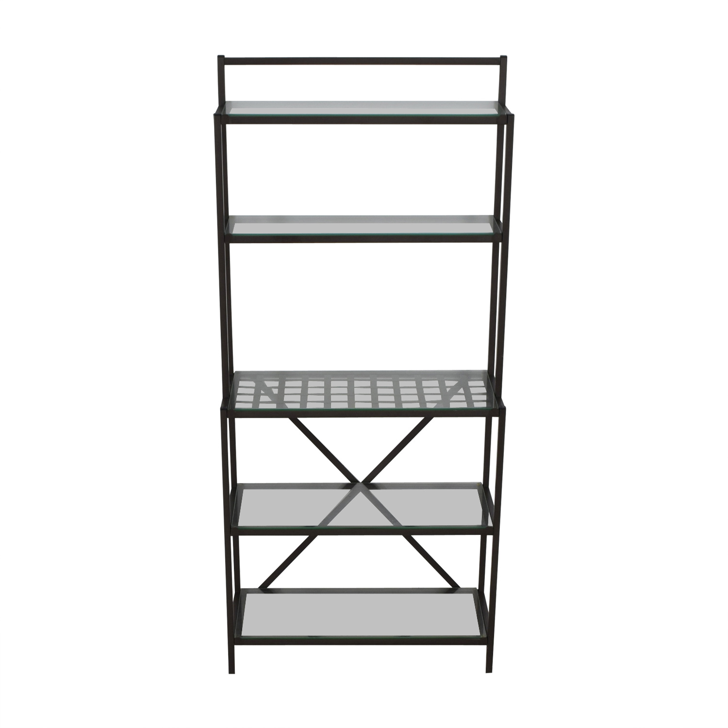 Black Metal and Glass Bakers Rack on sale