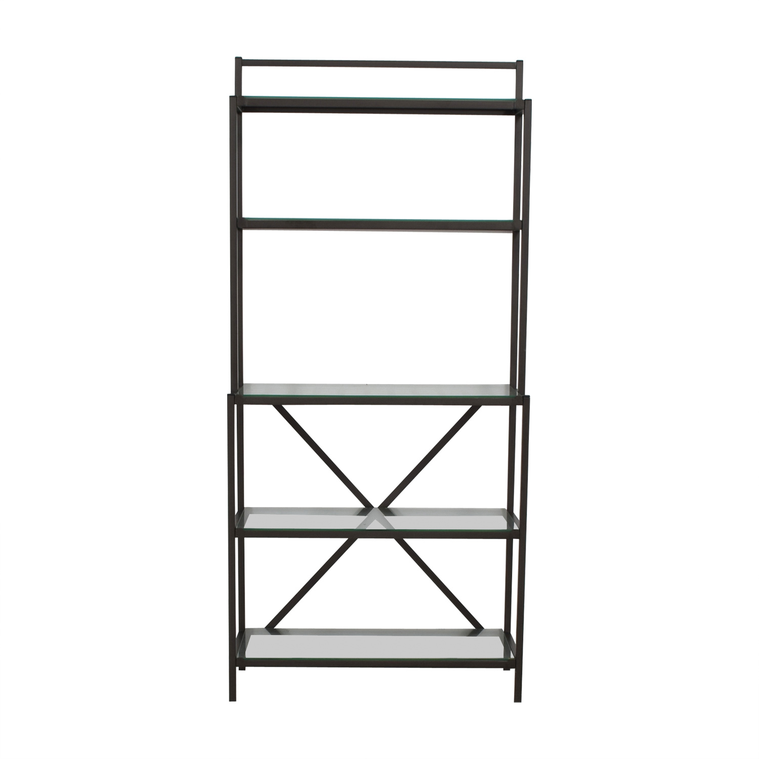 shop Black Metal and Glass Bakers Rack