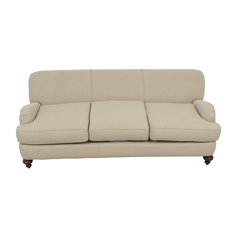 shop Wayfair Durham Beige Three-Cushion Sofa Wayfair