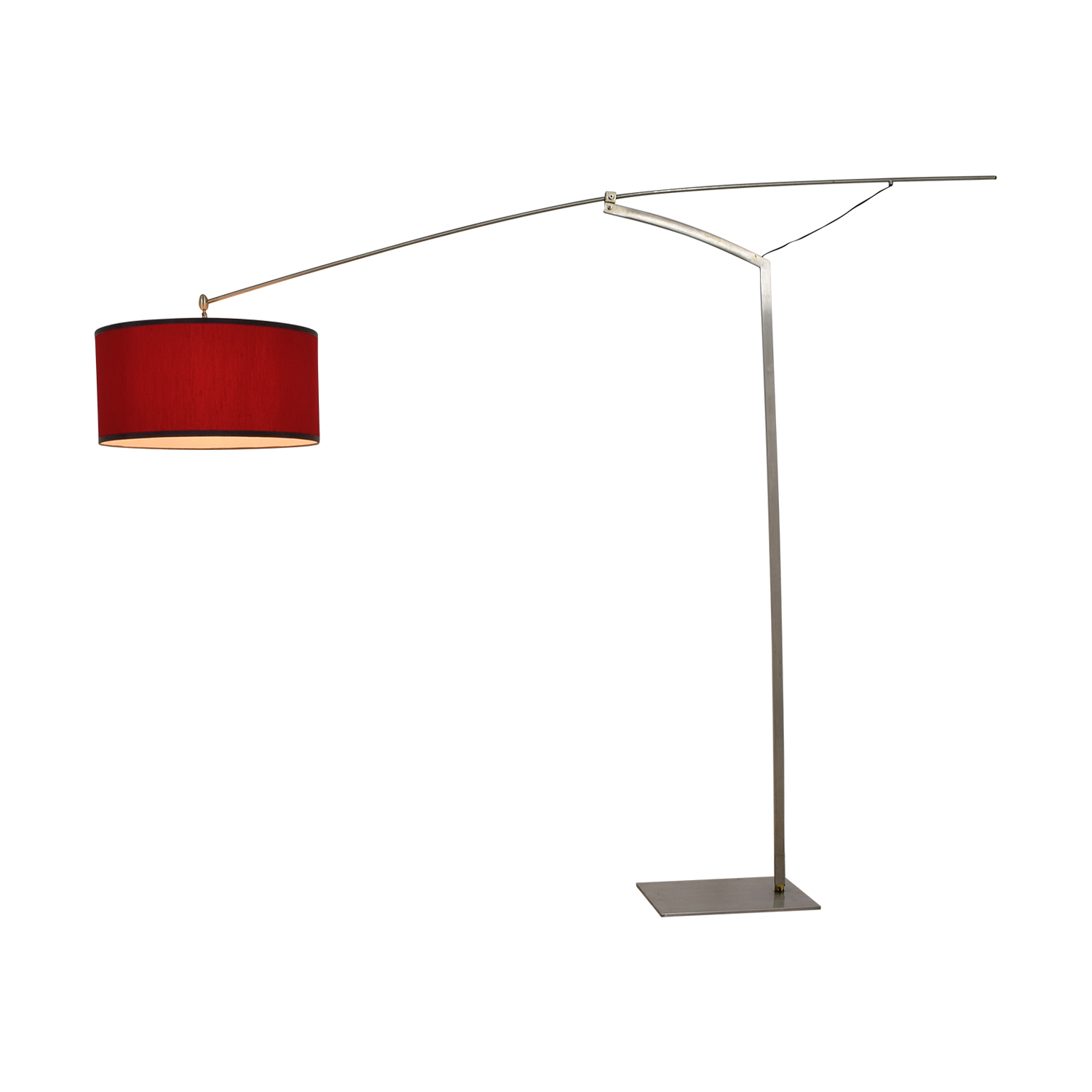 buy Italian Steel and Red Shade Floor Lamp  Lamps
