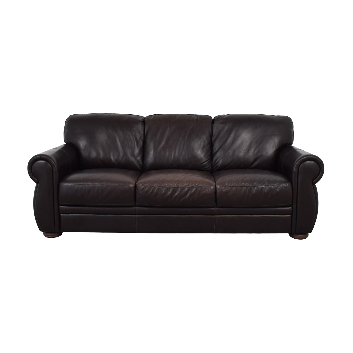 Raymour & Flanigan Raymour & Flanigan Marsala Leather Sofa dimensions