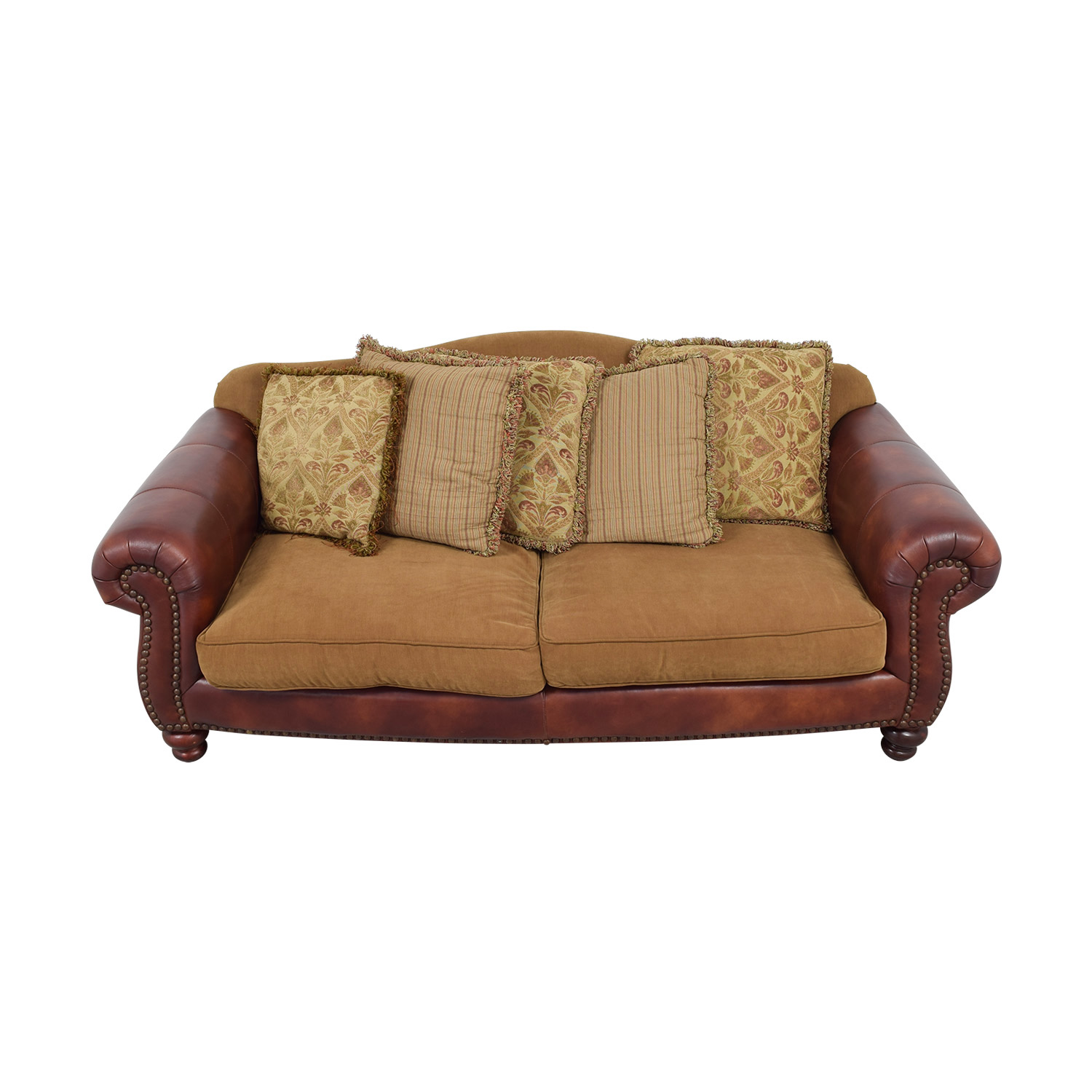 Suffern Fine Furniture Suffern Fine Furniture Distinctions Leather & Microfiber Nailhead Sofa red