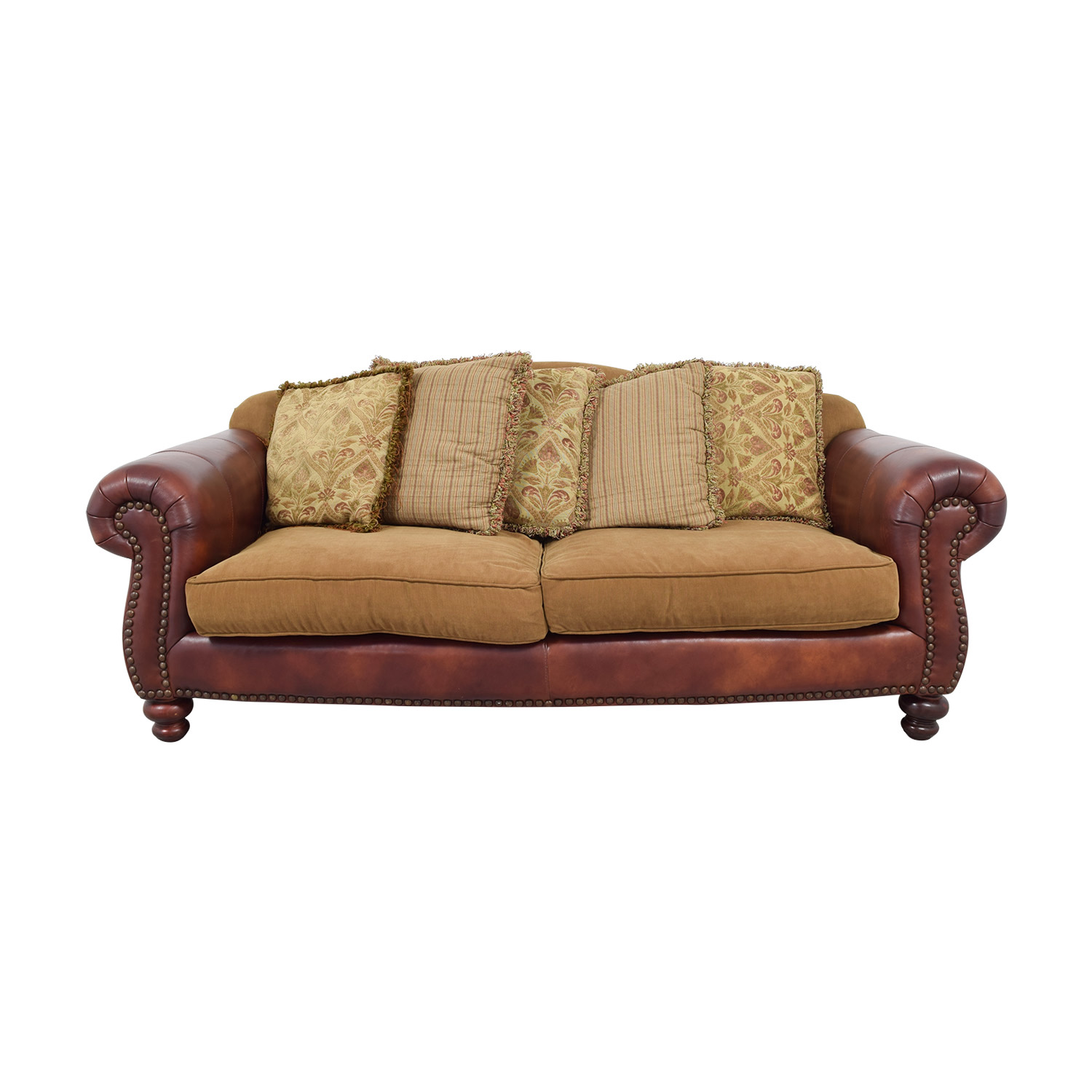 Suffern Fine Furniture Distinctions Leather U0026 Microfiber Nailhead Sofa  Suffern Fine Furniture