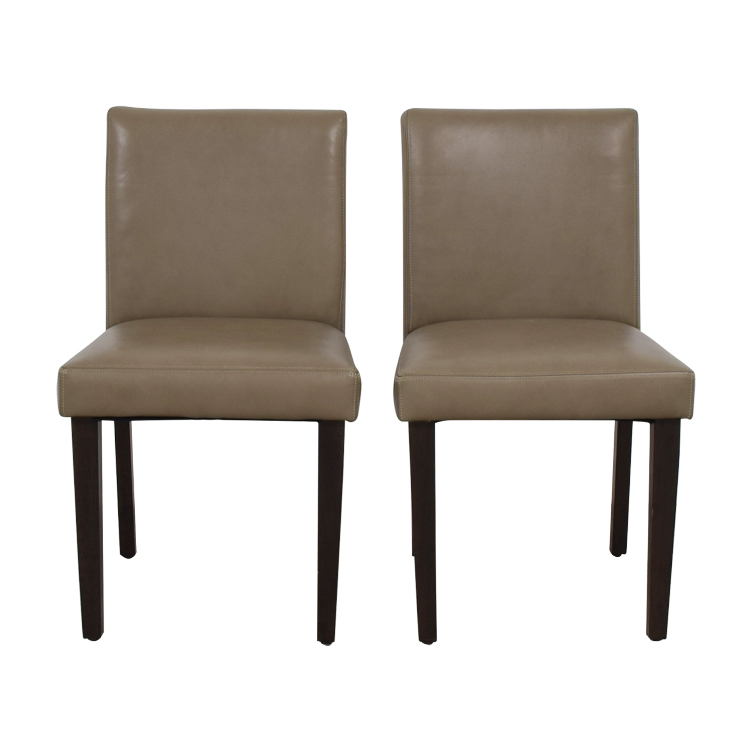 West Elm Porter Taupe Leather Dining Chairs sale