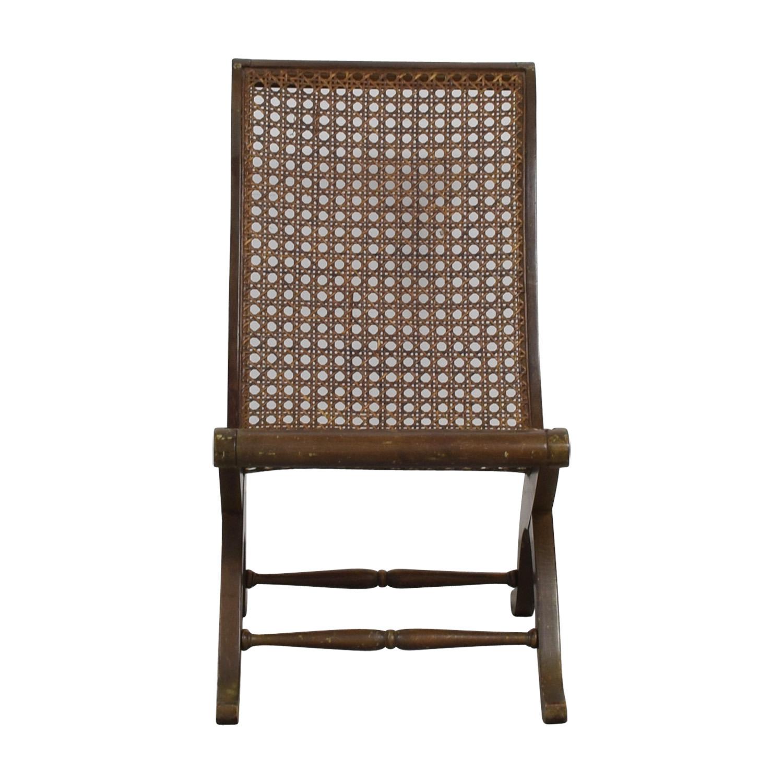Antique Sloped-Back Cane Rattan Accent Chair