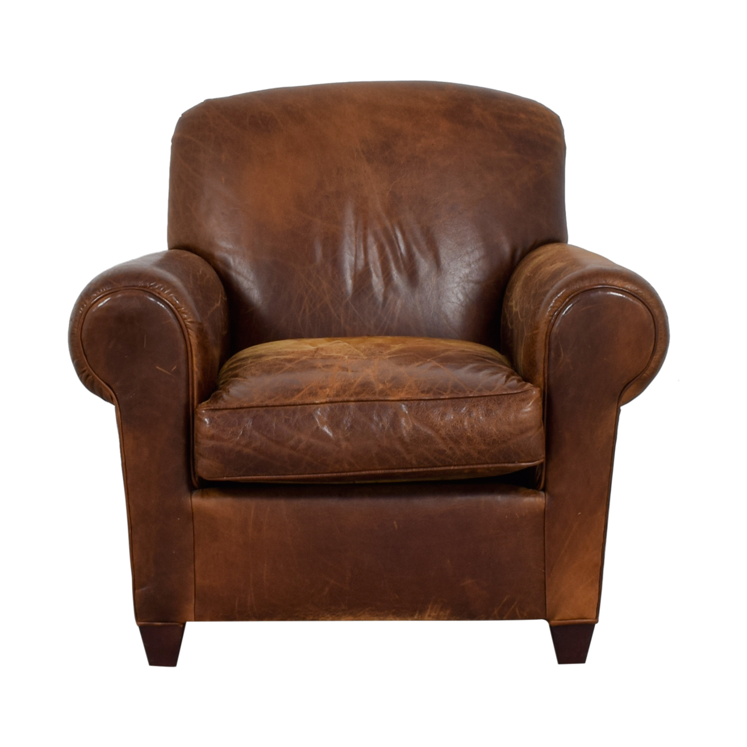 buy Crate & Barrel Brown Leather Club Chair Crate & Barrel