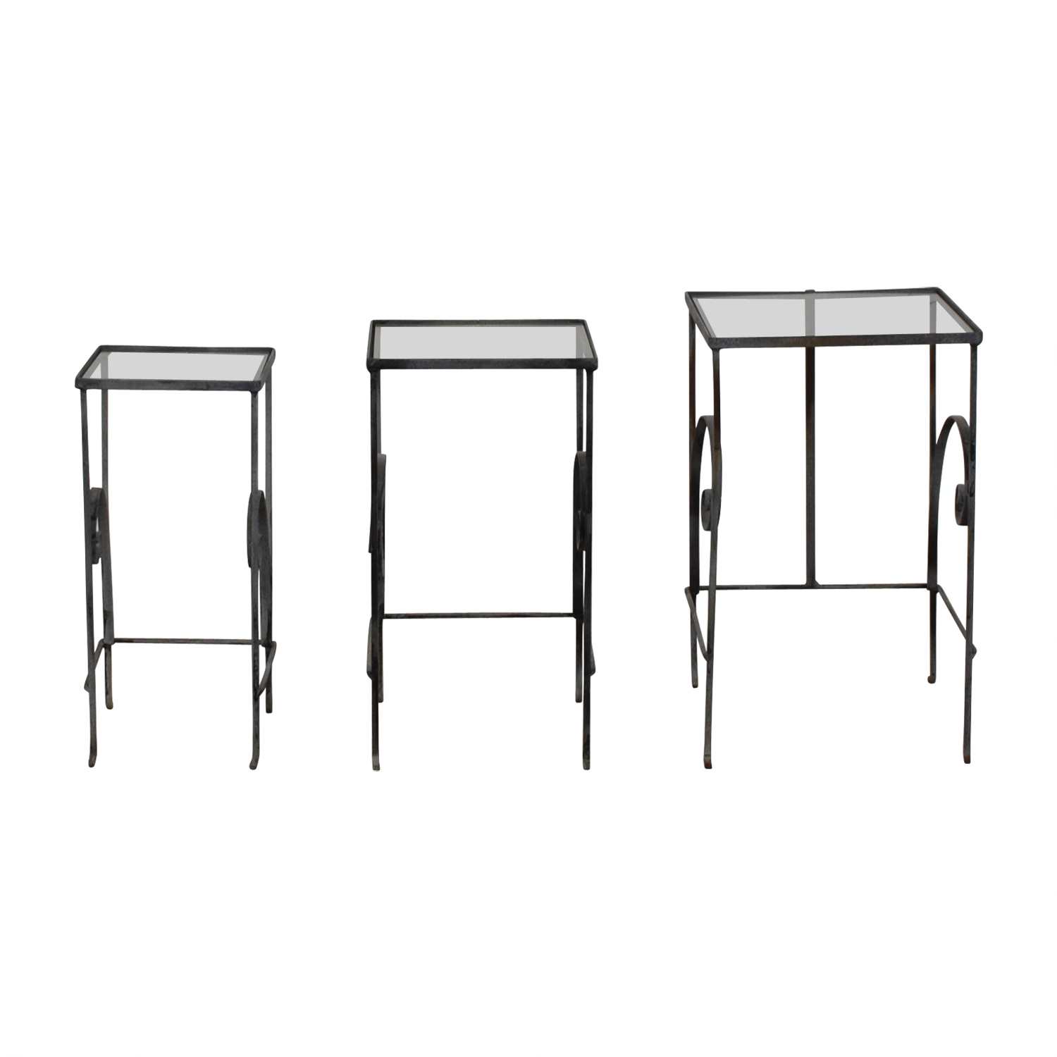 Antique Glass & Metal Nesting Tables