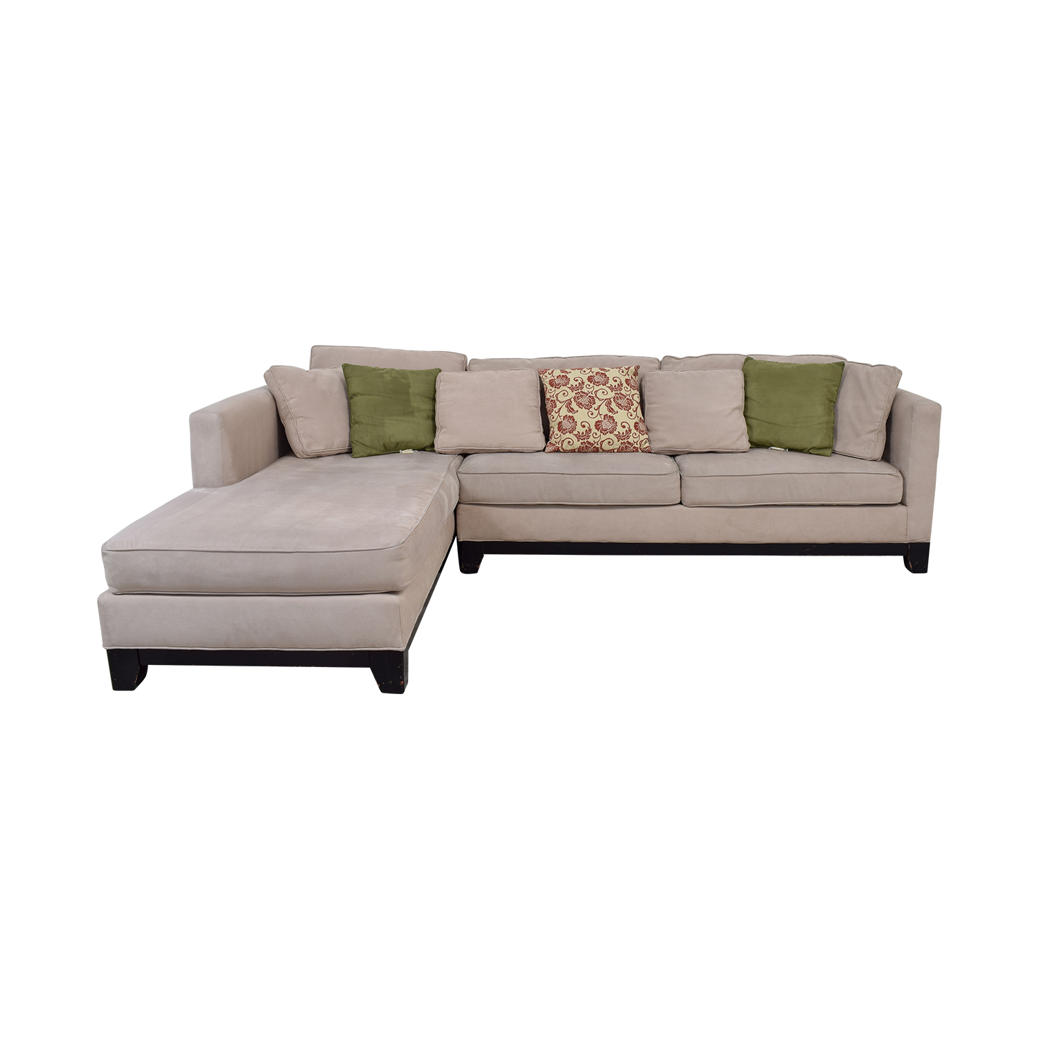 Macy's Macy's Microfiber Taupe Sectional Sofa for sale
