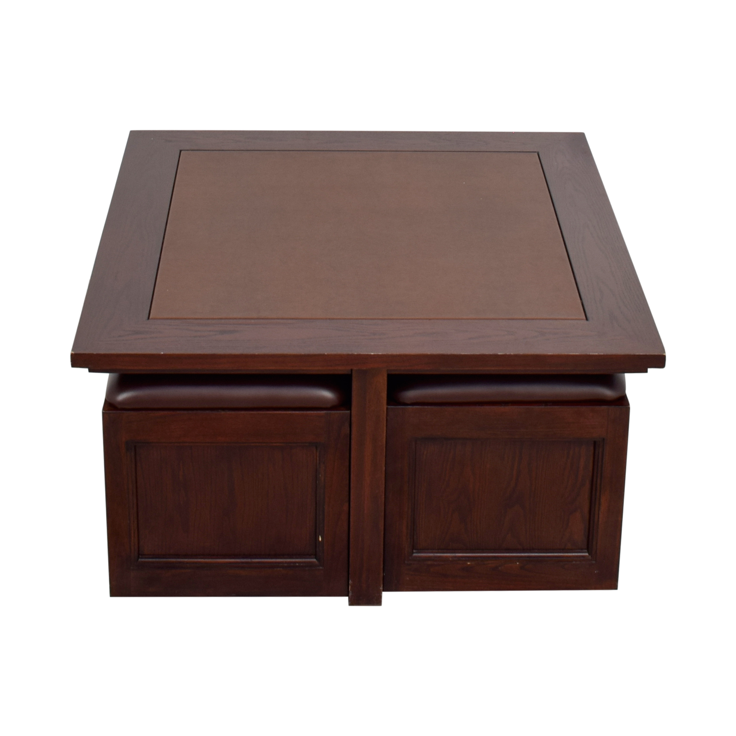 82 Off Macy S Macy S Cherry Wood Square Coffee Table With Seat Storage Tables