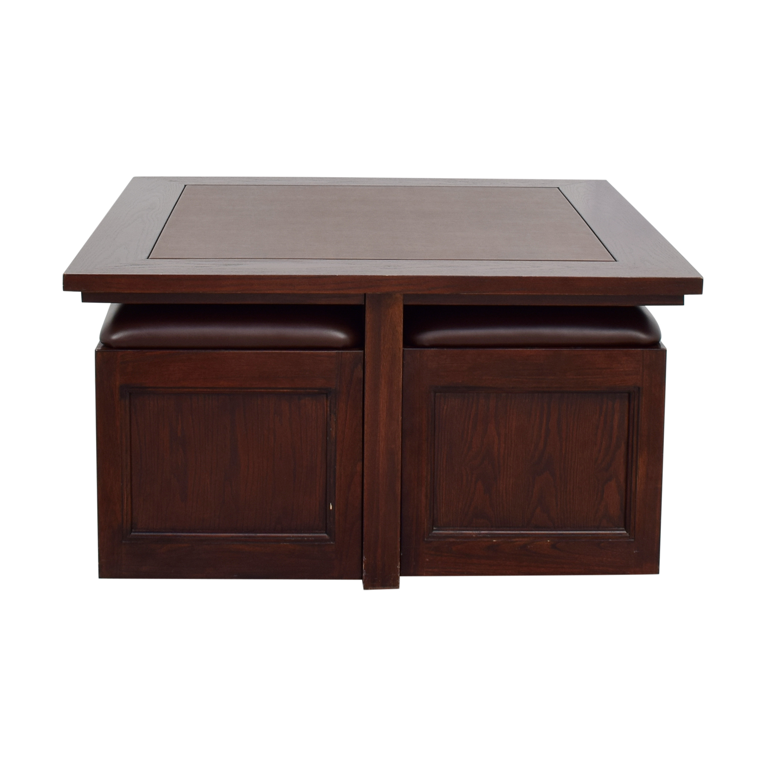 Macy's Macy's Cherry Wood Square Coffee Table with Seat Storage price