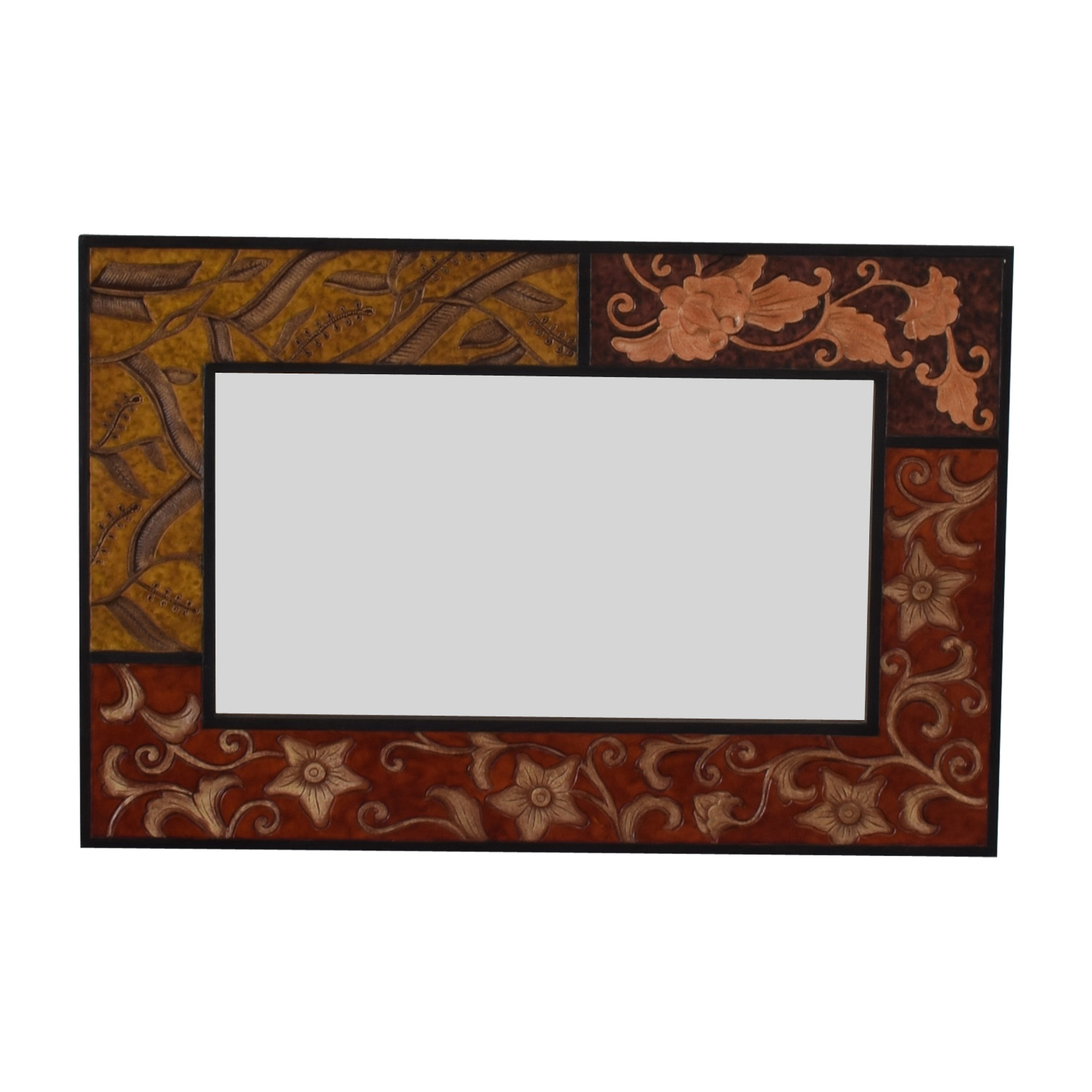 Pier 1 Pier 1 Panel Carved Decorative Mirror brown/yellow
