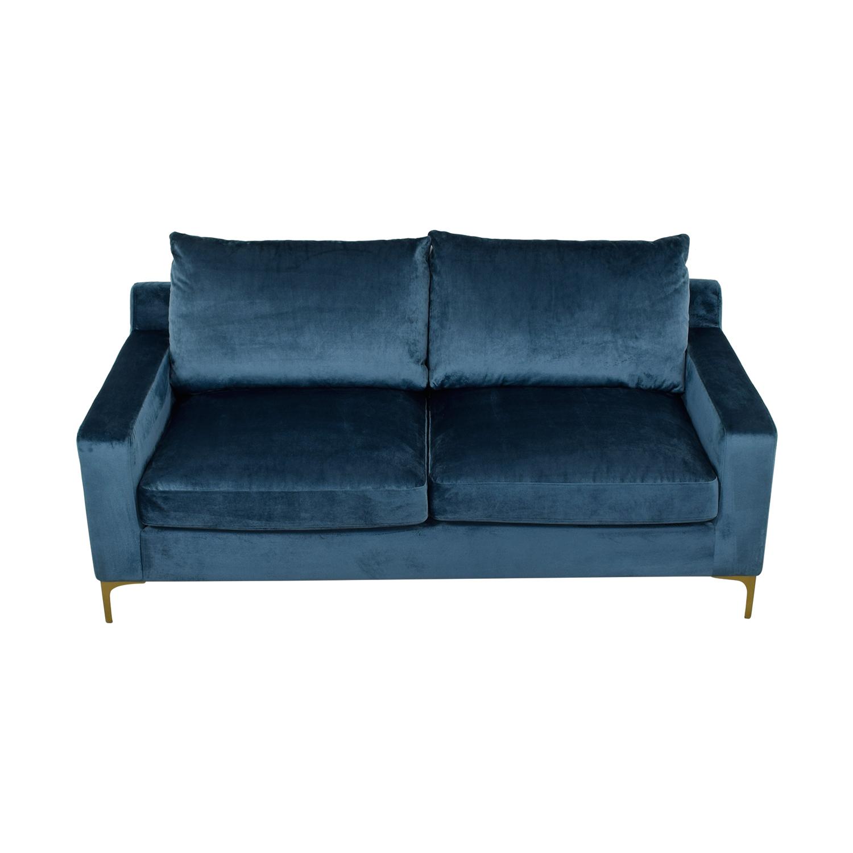 Sloan Velvet Sapphire Blue Two-Cushion Sofa