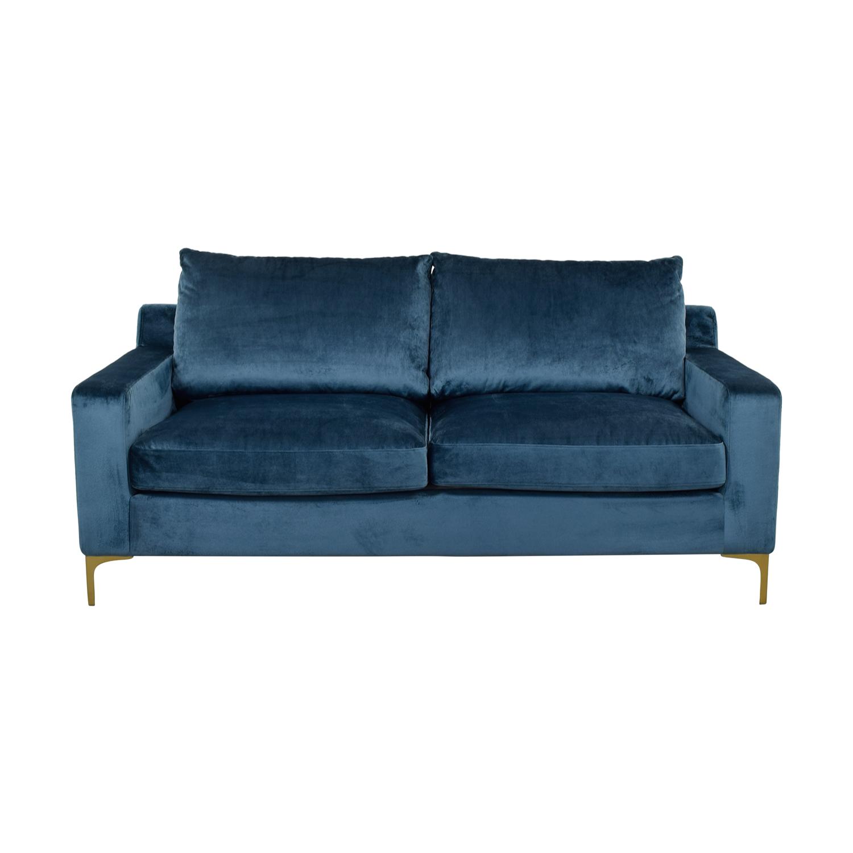 51% OFF - Sloan Velvet Sapphire Blue Two-Cushion Sofa / Sofas