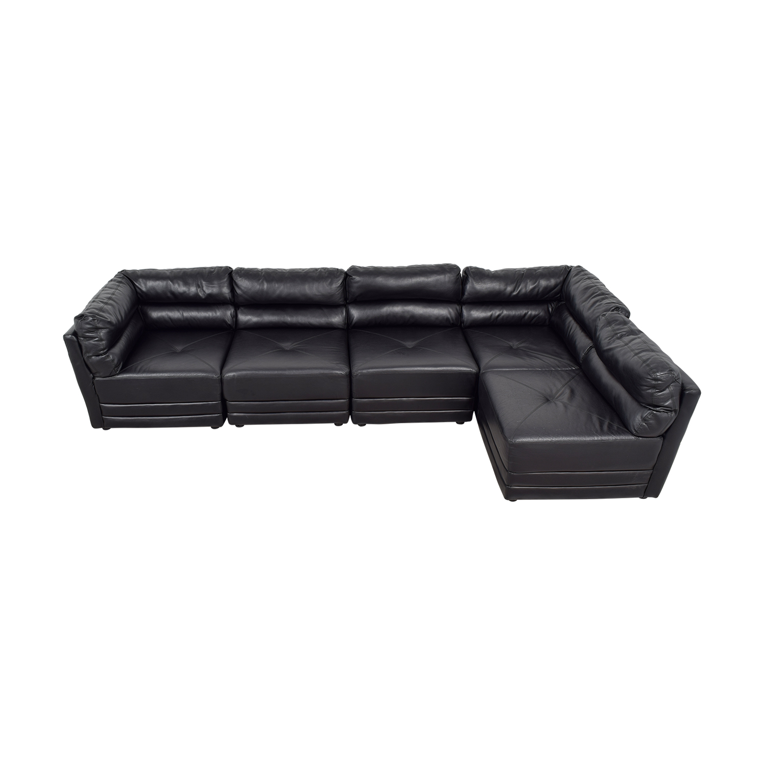 buy Black Leather L-Shaped Sectional