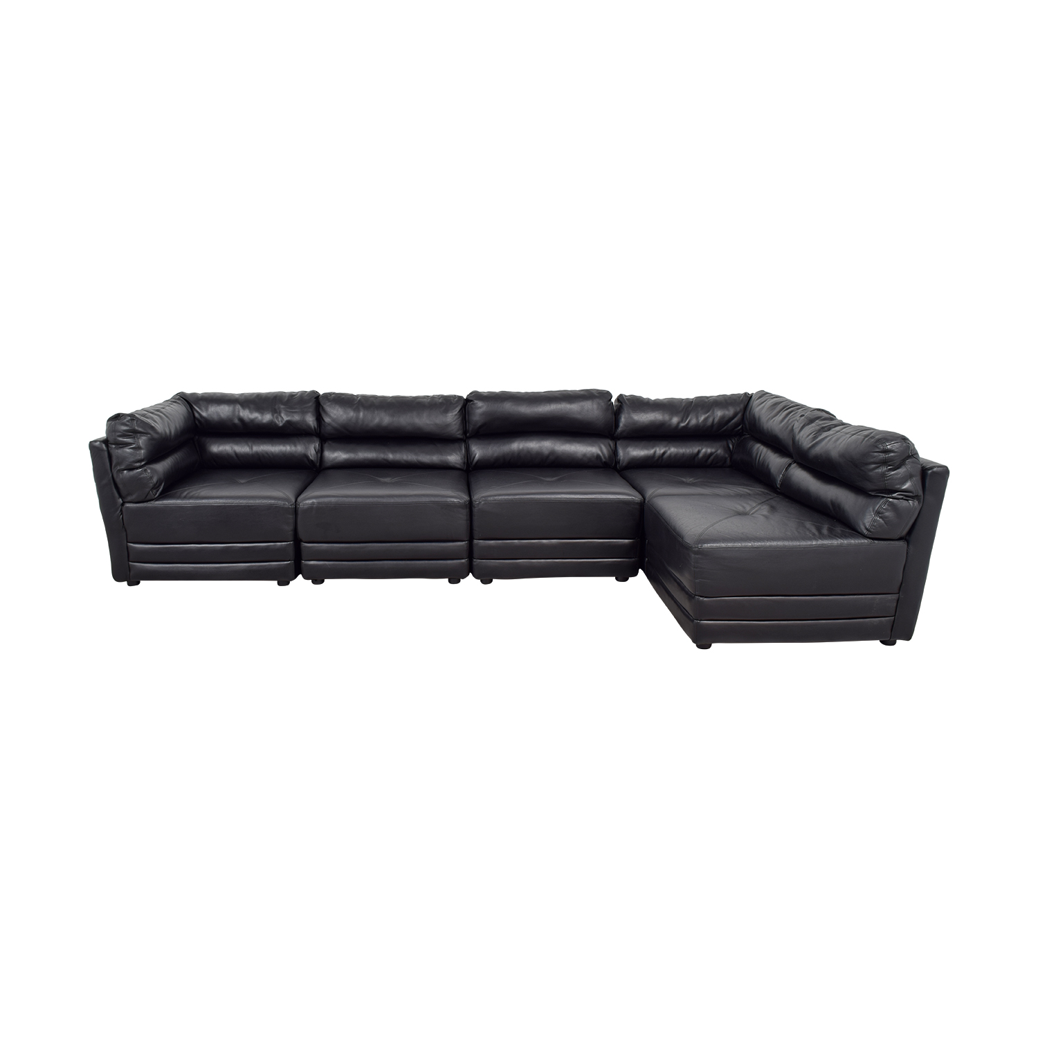 buy Black Leather L-Shaped Sectional  Sofas