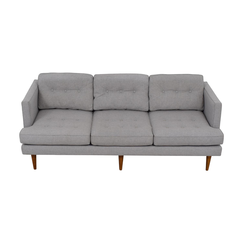 buy West Elm Peggy Grey Tufted Three-Cushion Sofa West Elm Classic Sofas