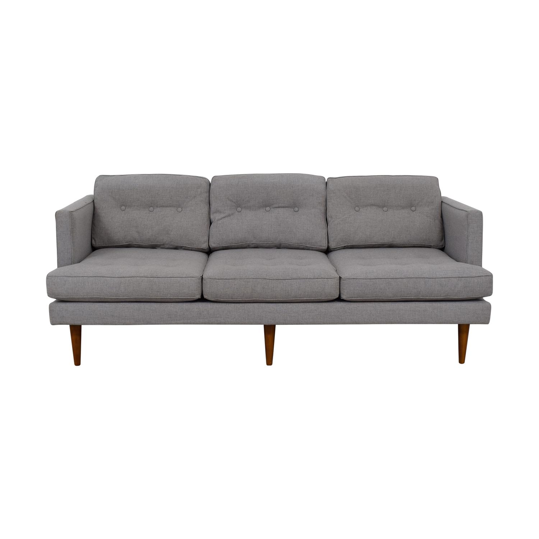 West Elm West Elm Peggy Grey Tufted Three-Cushion Sofa price
