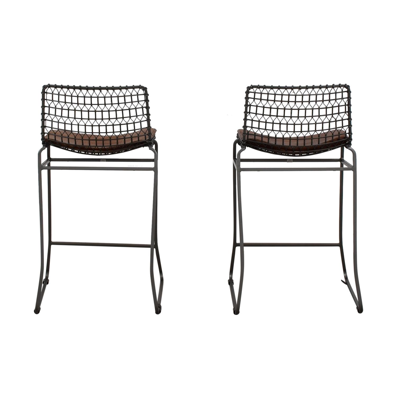 buy Crate and Barrel Metal Bar Stools with Sunbrella Cushions Crate and Barrel