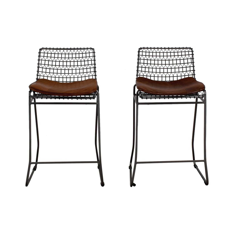buy Crate and Barrel Crate and Barrel Metal Bar Stools with Sunbrella Cushions online