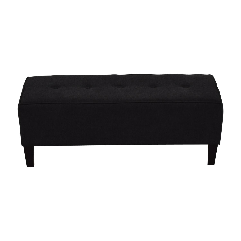 Ashleys Furniture Black Semi-Tufted Ottoman sale