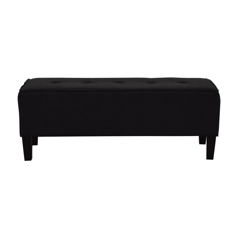 buy Ashleys Furniture Black Semi-Tufted Ottoman Ashleys Furniture