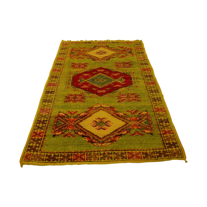 Hannoun Hannoun Green Yellow and Red Moroccan Rug used
