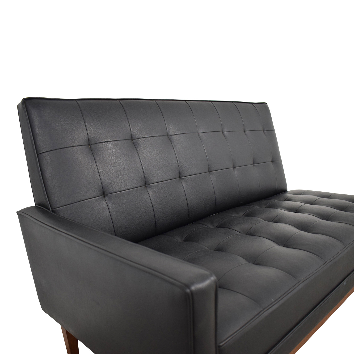 shop Directional Furniture Directional Furniture Black Tufted Leather Loveseat online