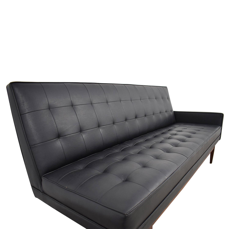 Directional Furniture Directional Furniture Black Tufted Leather Sofa on sale