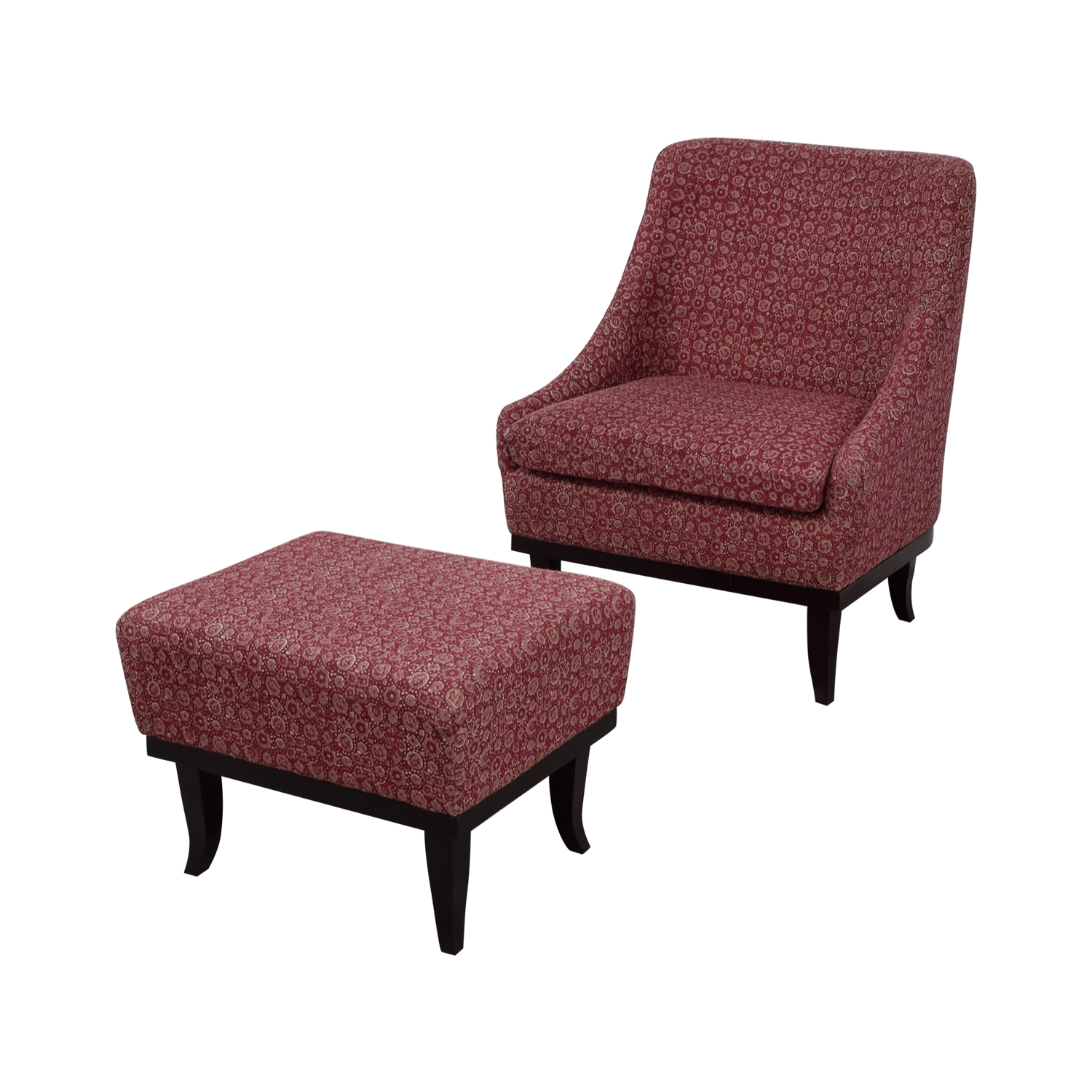buy Manor and Mews Cary Burgundy Armchair with Footstool Manor and Mews Accent Chairs