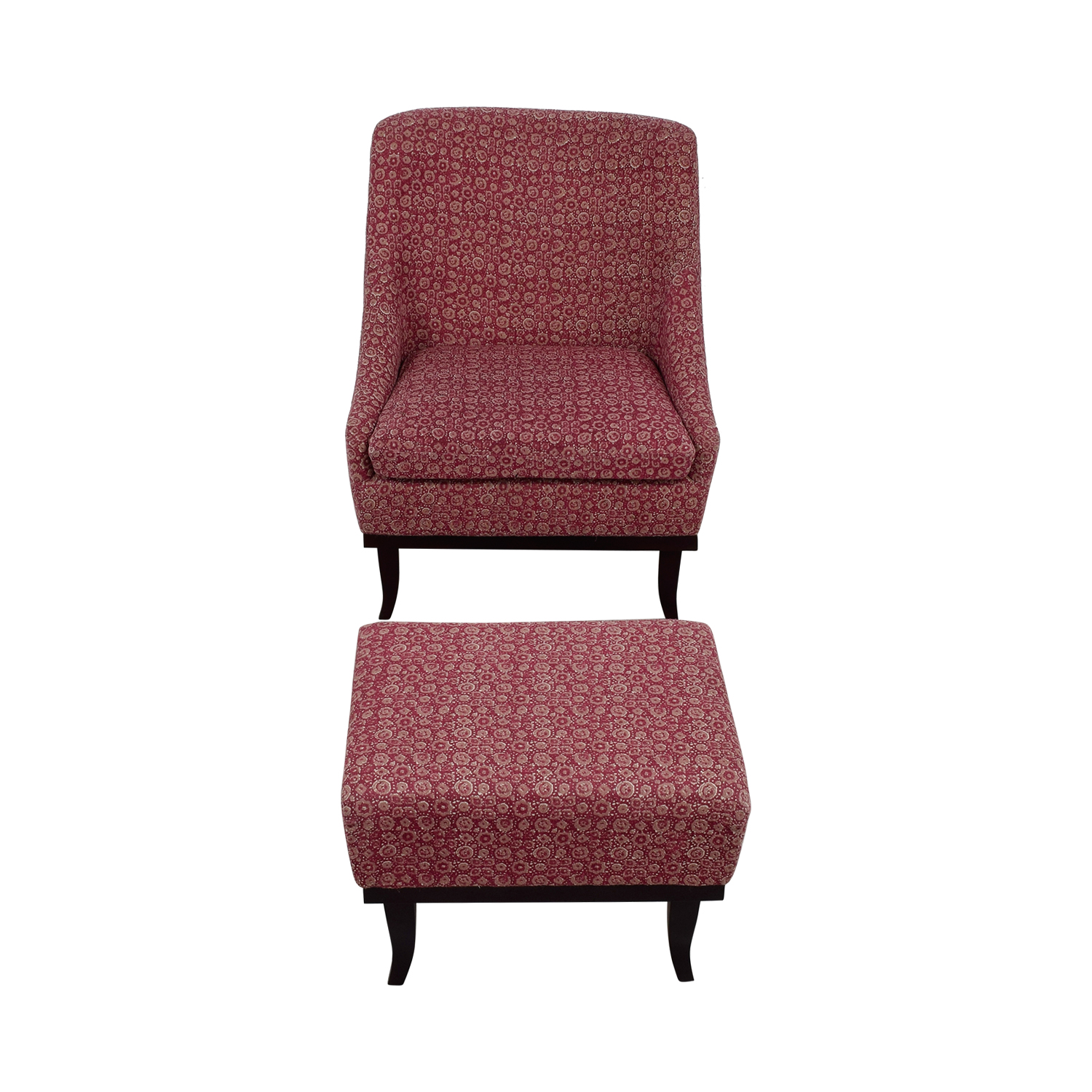 Manor and Mews Manor and Mews Cary Burgundy Armchair with Footstool for sale