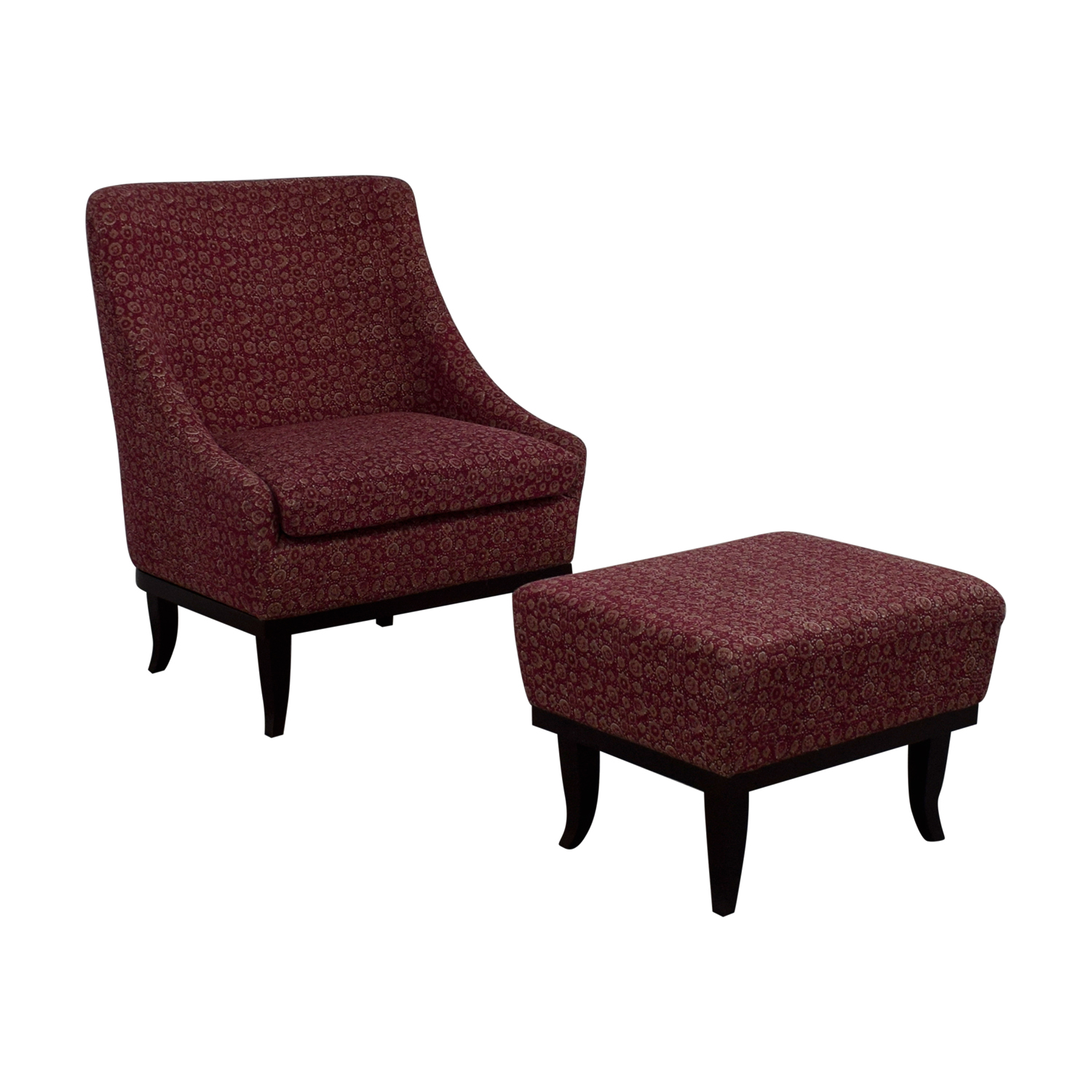 Manor and Mews Cary Burgundy Armchair with Footstool sale