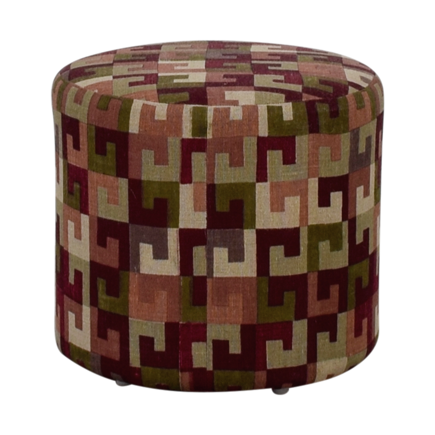 buy Manor and Mews Manor and Mews Round Burgundy Pouffe online