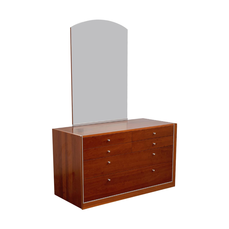 Modern Silver Trimmed Dresser with Mirror