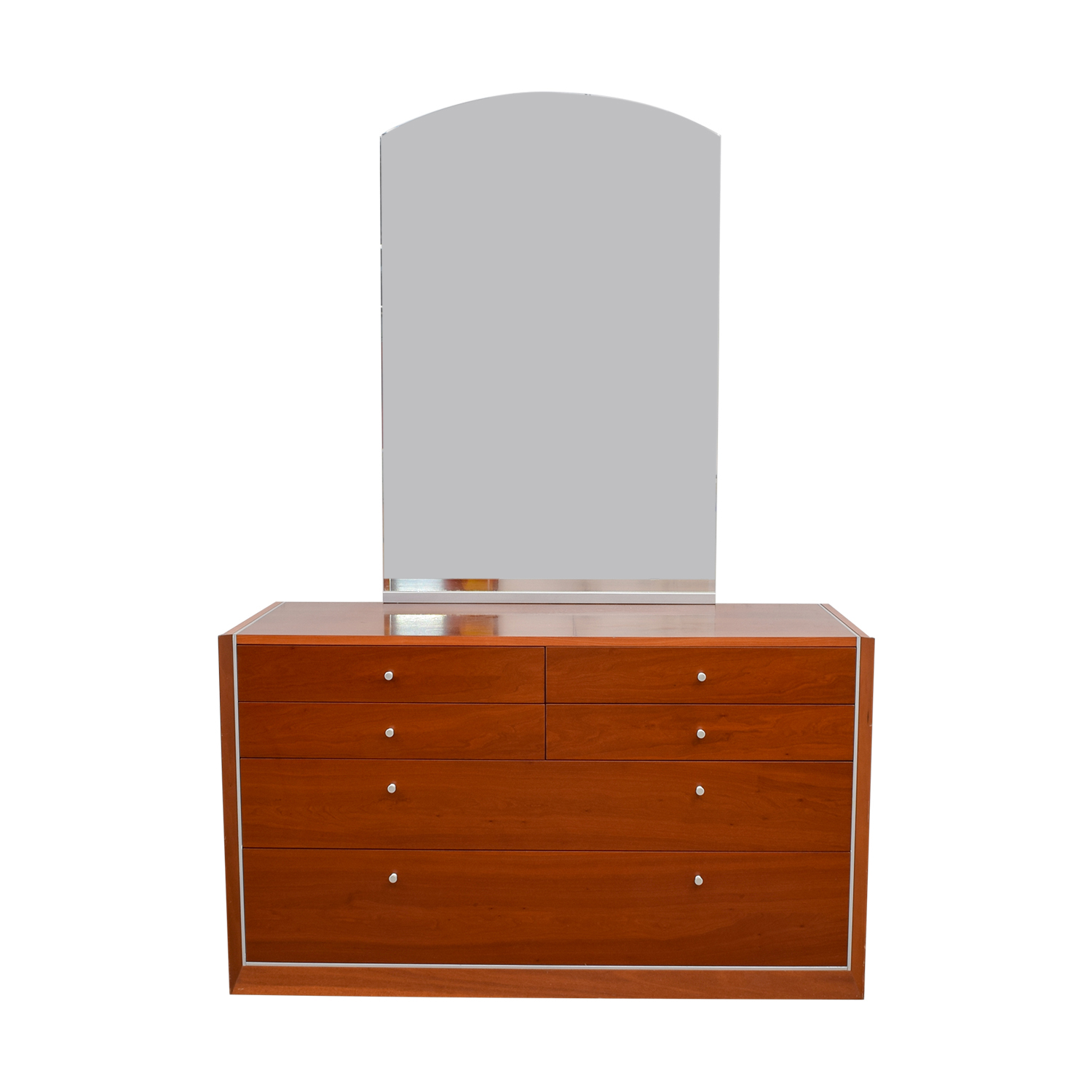 Modern Silver Trimmed Dresser with Mirror nj