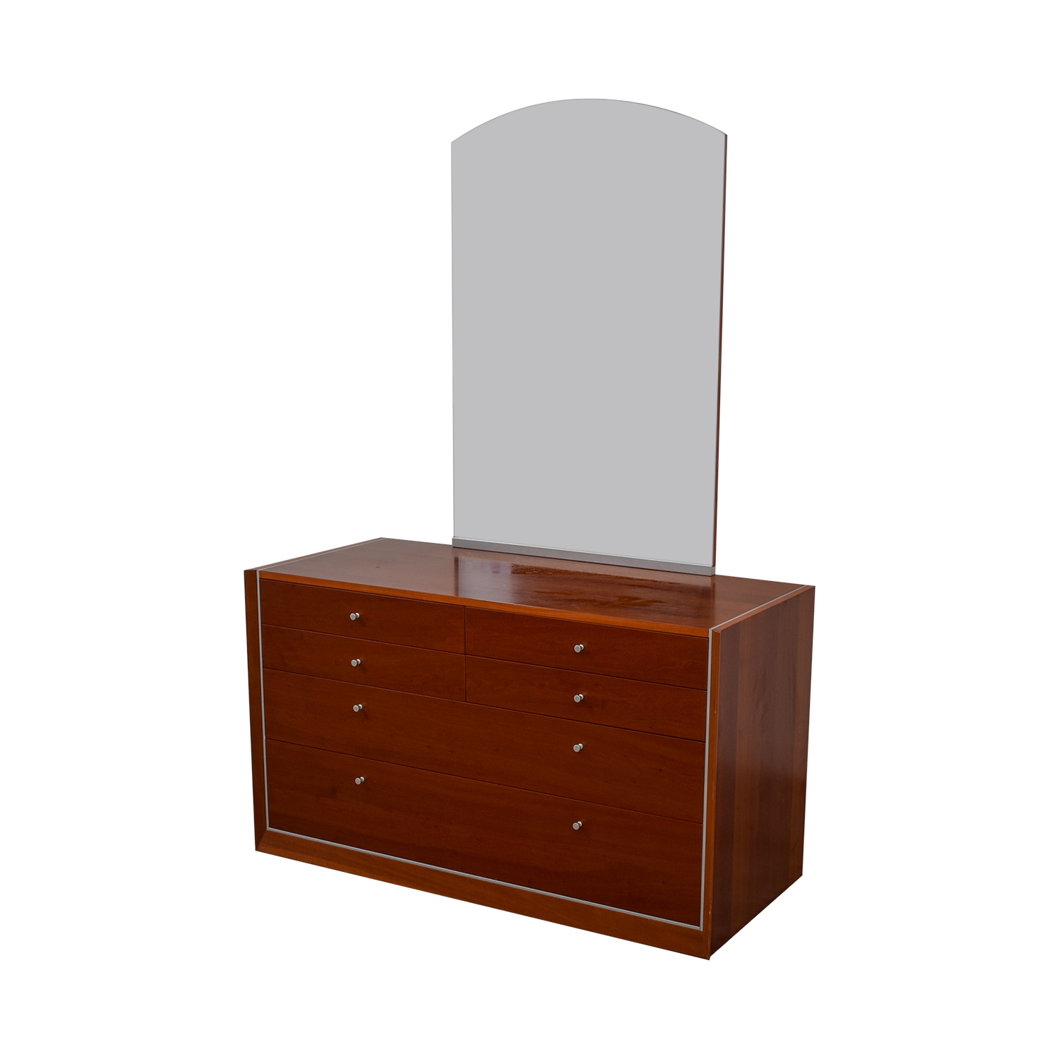 Modern Silver Trimmed Dresser with Mirror dimensions