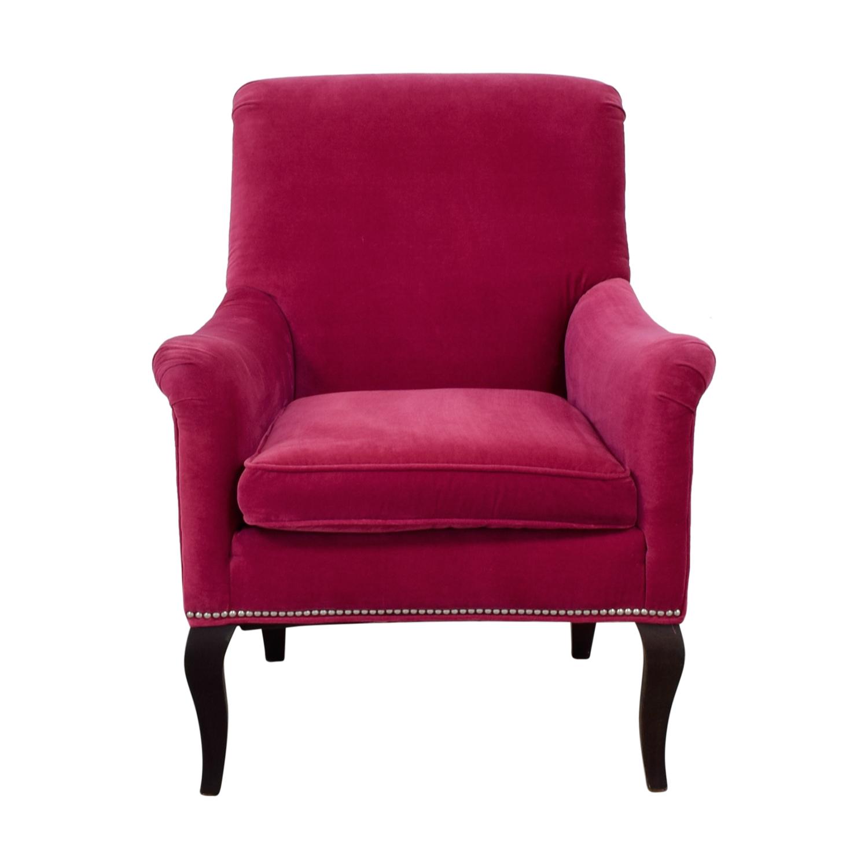 Crate & Barrel Crate & Barrel Pink Velvet Nailhead Accent Chair