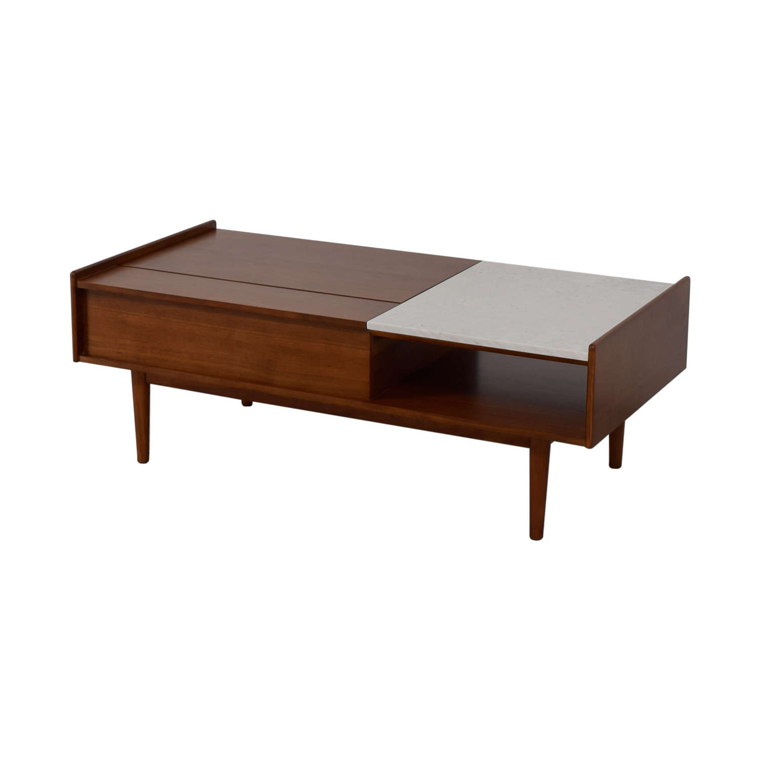 49 Off West Elm West Elm Mid Century Pop Up Walnut And Marble Coffee Table Tables