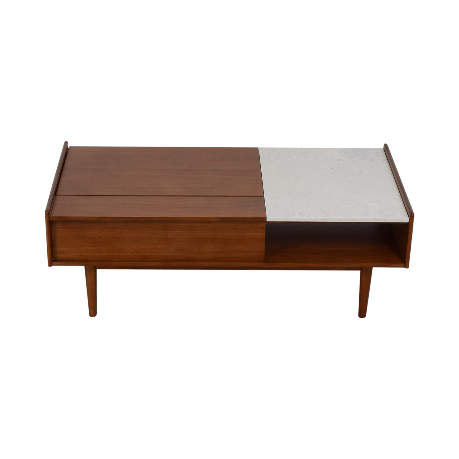 buy West Elm Mid-Century Pop Up Walnut and Marble  Coffee Table West Elm Coffee Tables