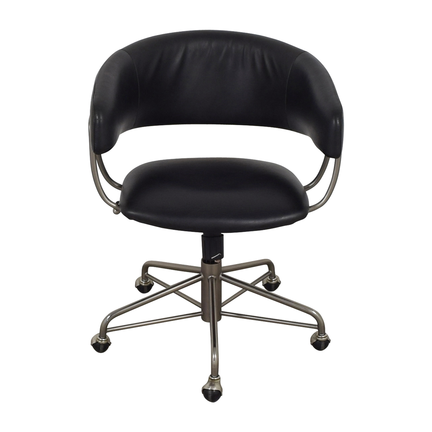 73 Off West Elm West Elm Halifax Black Leather Office Chair Chairs