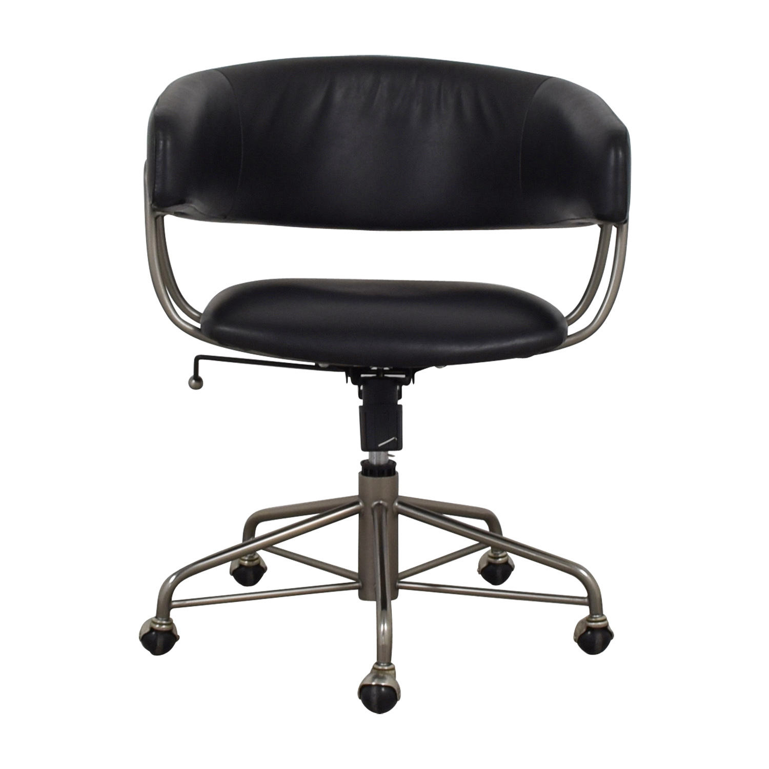 73% OFF   West Elm West Elm Halifax Black Leather Office Chair / Chairs