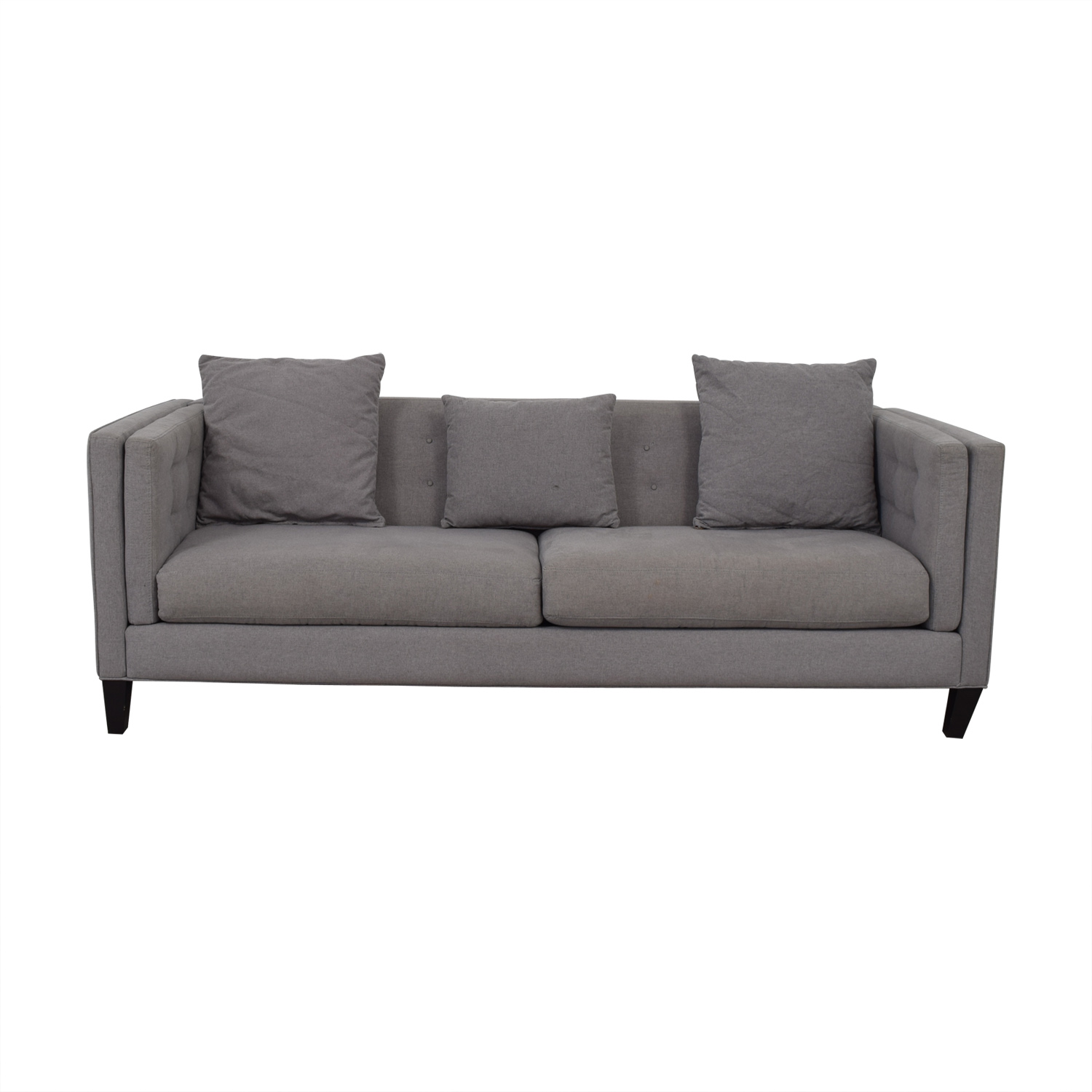 buy Jonathan Lewis Grey Two-Cushion Couch Jonathan Lewis
